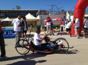 Participant using handbike